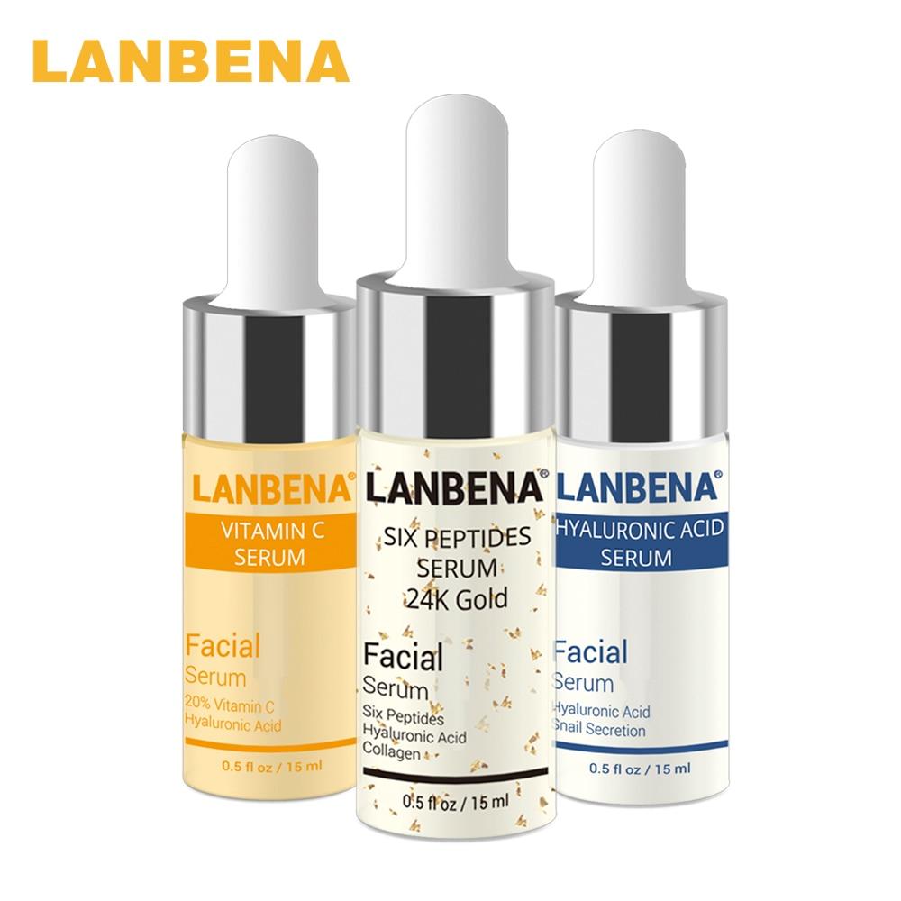 LANBENA Vitamin C Serum+Six Peptides Serum 24K Gold+Hyaluronic Acid Serum Anti-Aging Moisturizing Skin Care Whitening Brighten 1