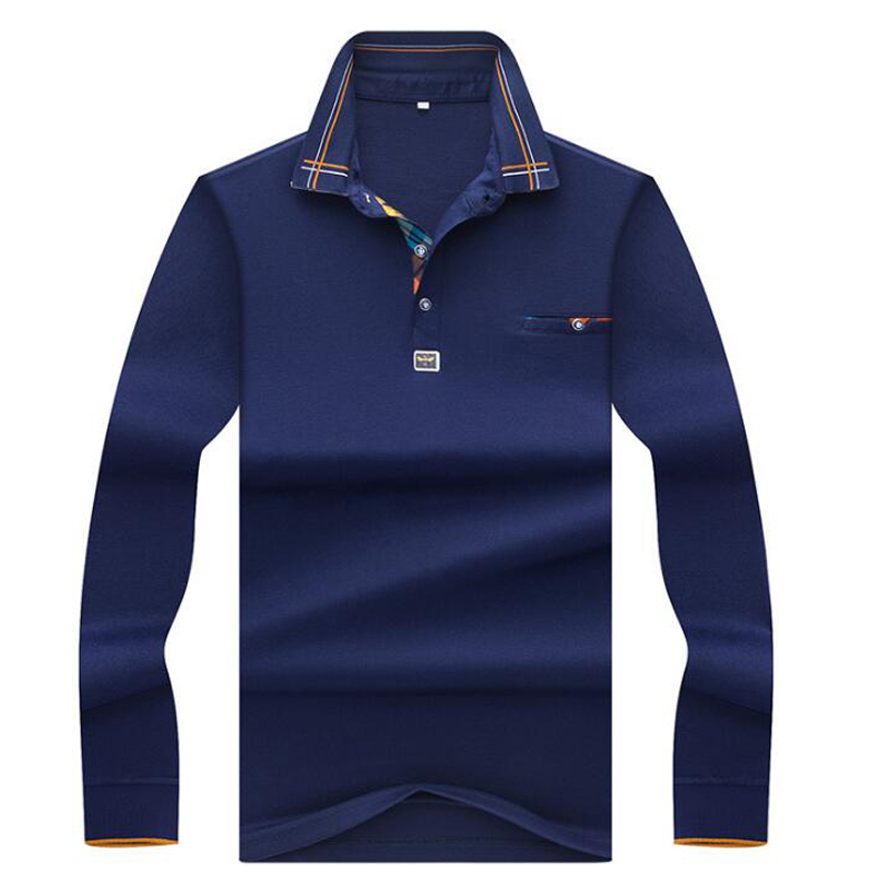 Autumn winter new men   polo   high quality long sleeved   polo   shirt men Fashion business Casual Solid   polo   shirt Men clothing brand