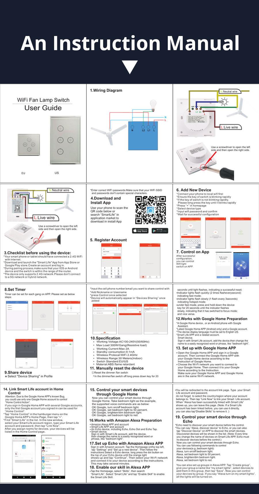 Smart Life Tuya Wifi Alexa Wall Touch Switch Fan/Light APP Remote Control  Touch Switch Smart Google Home Light Switch AC100-240V