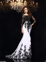 Long Sleeve Black White Lace Prom Wedding Evening Party Pageant dresses Gowns