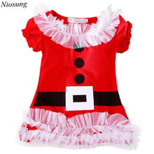 Niosung Lace Christmas Style cotton Dress With Short Sleeves Children Kids Baby Clothing Christmas Party Costume