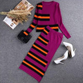 Autumn Winter Women Color Knitting Striped Suits Long-sleeved Contrast Color Striped Pattern Top Knee -Length Pencil Skirt Suits