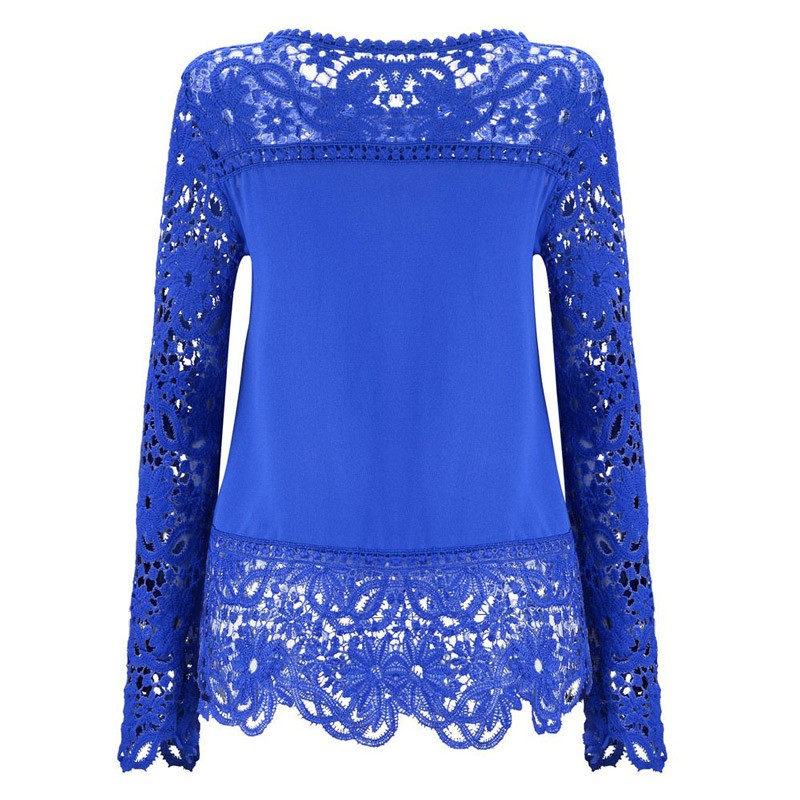 2019 Fashion Women Solid Blouse Elegant Lace Chiffon White Blue Sweet Blouses Summer Clothing Womens Tops And Blouses