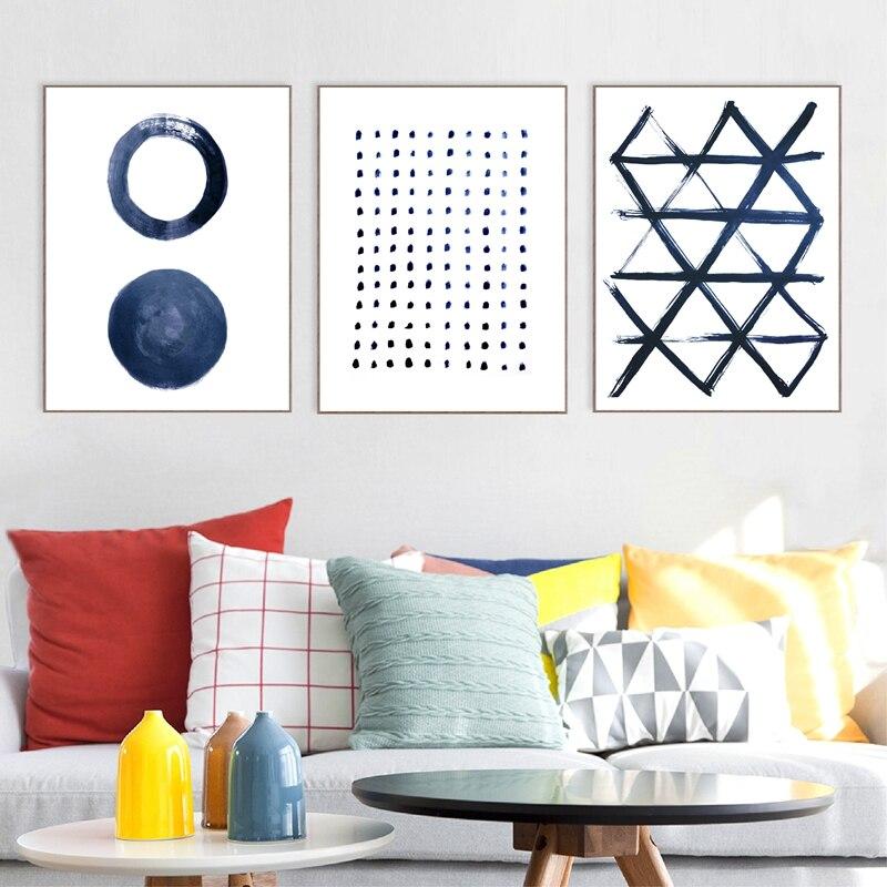 Indigo canvas print living room decor