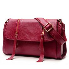Fashion Genuine leather soft women messenger bag Zipper tassel crossbody bags for woman shoulder bag lady handbag  C40-181