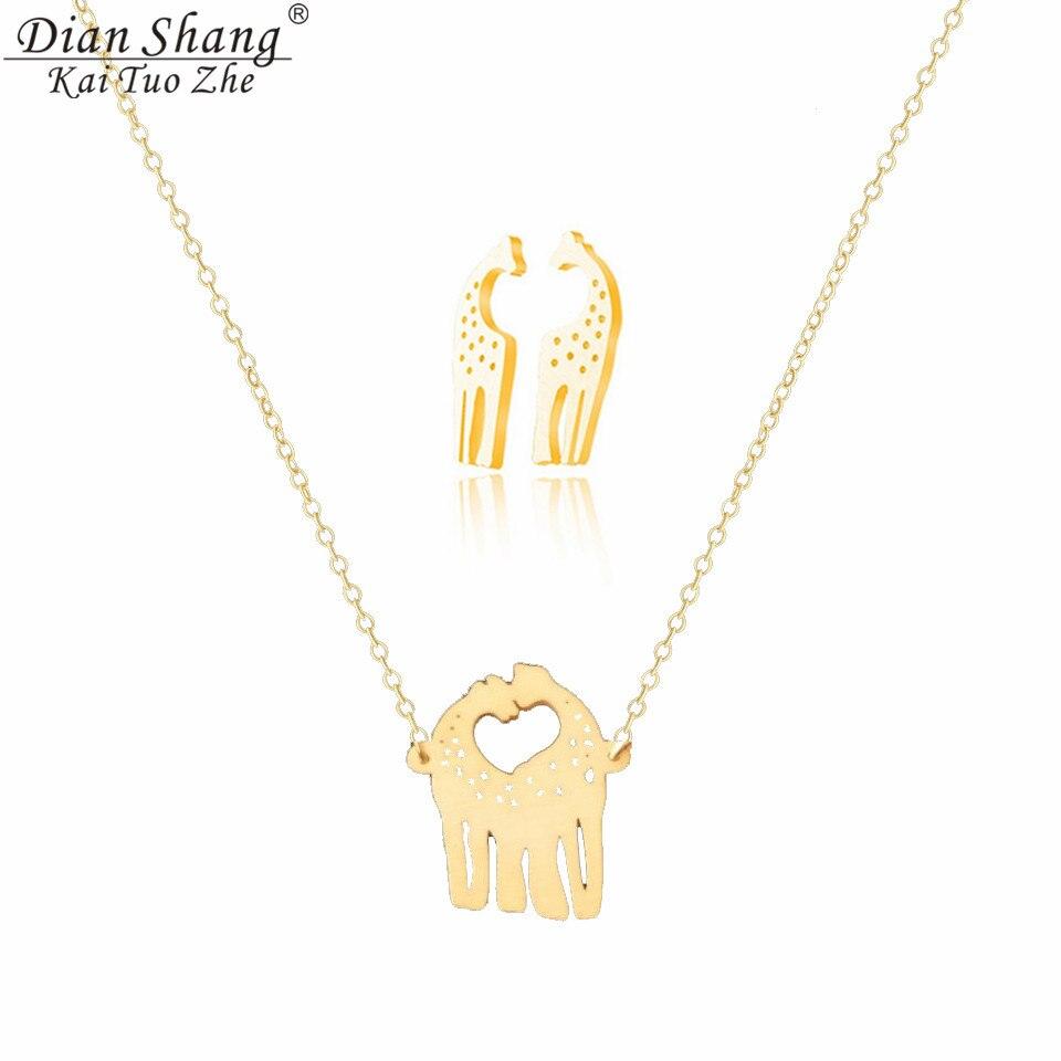 Dianshangkaituozhe Stainless Steel Jewelry Sets Gold Giraffe Statement  Necklace Earrings For Women Conjunto De Colar E