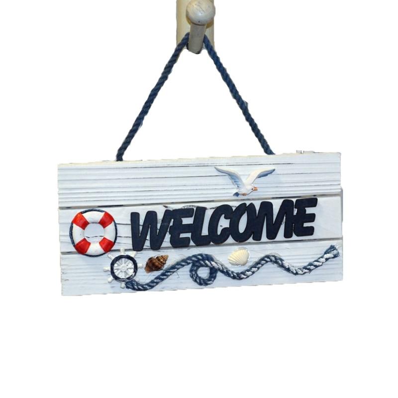 Nová příjezd Speciální nabídka vítá seznam středomořských mořských stylů pro bytové doplňky Dřevěná zeď Uvítací cedule
