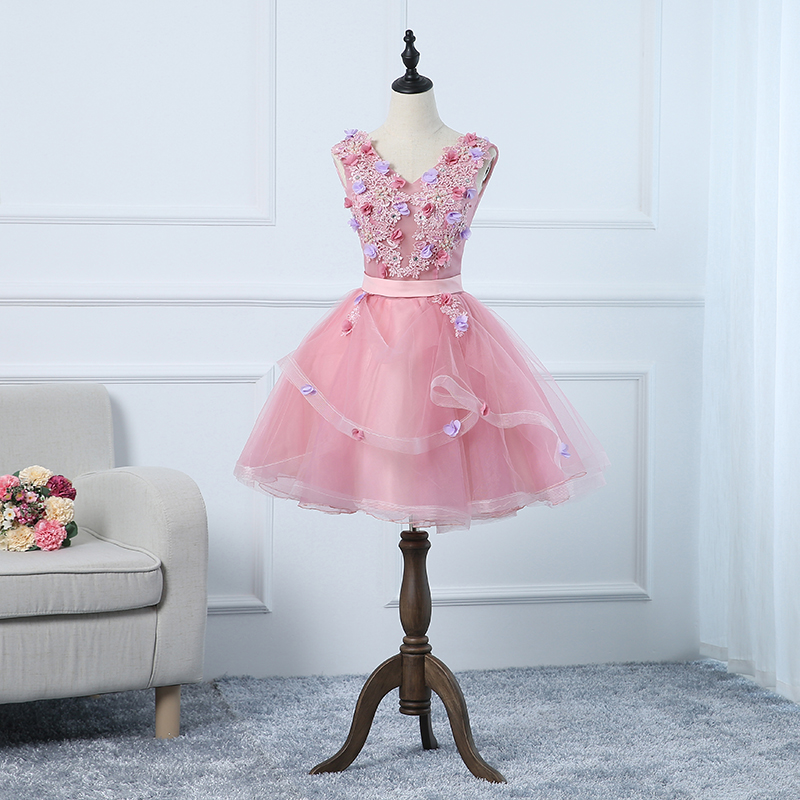 New sweat pink short lady girl women princess bridesmaid banquet party ball dress gown