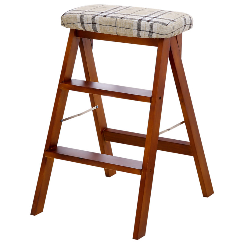 B Solid Wood Creative Folding Stool Simple Folding Kitchen Ladder Stool Portable High Stool Home Change Shoes High Stool