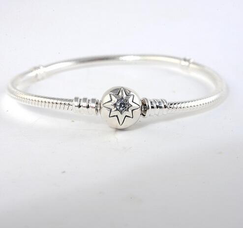 100% 925 Sterling Silver Clasp Bracelet Clear Cz Snake Bracelets for Women Fit European brand charm Beads DIY Jewelry