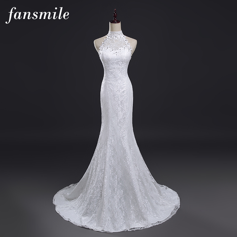 Fansmile Real Photo Vestidos De Novia Vintage Lace Mermaid Wedding Dress 2019 Plus Size Bridal Gowns Robe De Mariage FSM-384M