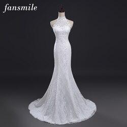 Fansmile Real Photo Vestidos De Novia Vintage Kant Mermaid Wedding Dress 2020 Plus Size Bruidsjurken Robe De Mariage FSM-384M