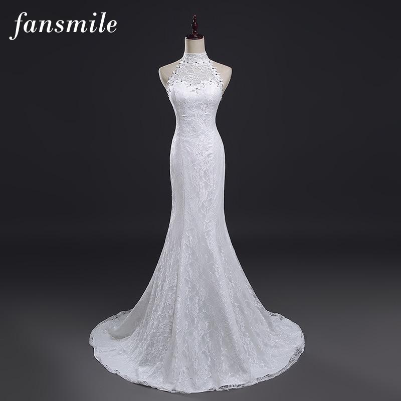 Fansmile Real Photo Vestidos De Novia Vintage Lace Mermaid Wedding Dress 2019 Plus Size Bridal Gowns Robe De Mariage FSM-384M