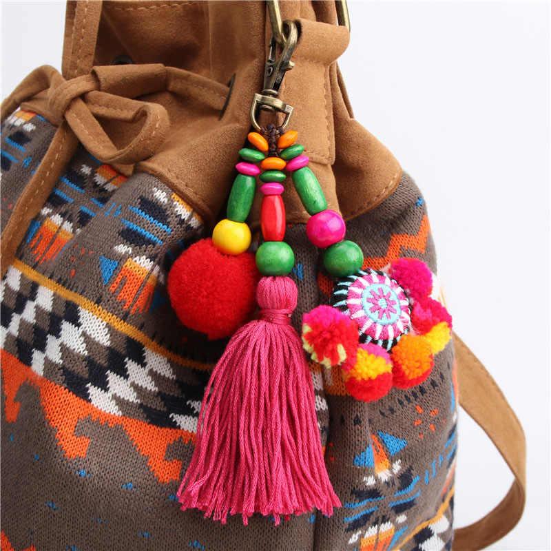 Encanto Pompom Pom Pom Pompom Borla Chaveiro Bugiganga Chave anéis chave Do Carro Cadeia de Acessórios Encantos do Saco das Mulheres para As Mulheres pingente O35