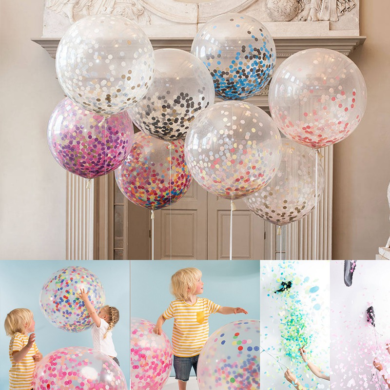 1/5pcs Latex Confetti Balloons 36inch Rainbow Confetti Wedding Birthday Party Transparent Ballons Decora Festive Supplies