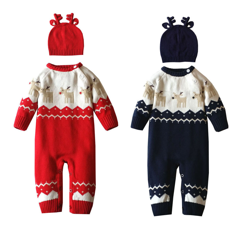 Baby Warm Thick Winter Knitted Sweater Rompers Newborn Boys Girls Jumpsuit Climbing Clothes Christmas Deer Outwear With Hat autumn winter baby hats new fashion children warm ball hat double color boys and girls cotton caps beanies baby knitted hat
