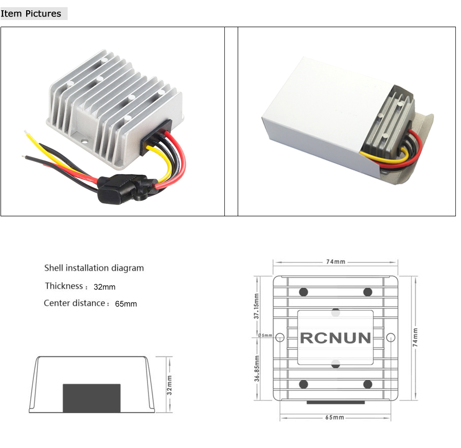 Rcnun New 24v 36v 48v To 12v 20a Step Down Dc Converter Club Car Wiring Diagram Buck Features Specs Boost M F