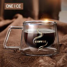 double Glass Coffee Mug With Handle As Gift For Boy And Girl American Style Cup Handgrip Cups And Mugs Creative Drinkware creative glass cow cups double wall handgrip milk cup mug insulation transparent drinkware udder style creamer pitcher jug