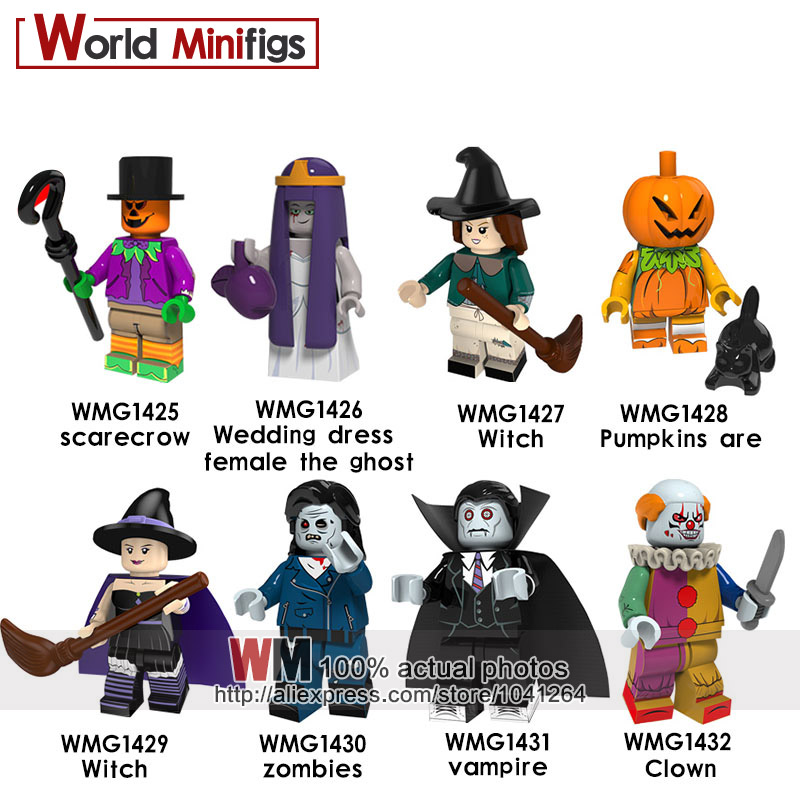 Blocks 20pcs/lot Legoings Halloween Scarecrow Wedding Ghost Witch Pumpkin Man Zombie Vampire Clown Building Blocks Toy For Children 50% OFF