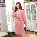 Thick Cotton Bathrobes Belted Female Pajamas Winter Autumn Long-sleeved Cotton Quilted Robes With Pockets Peignoir