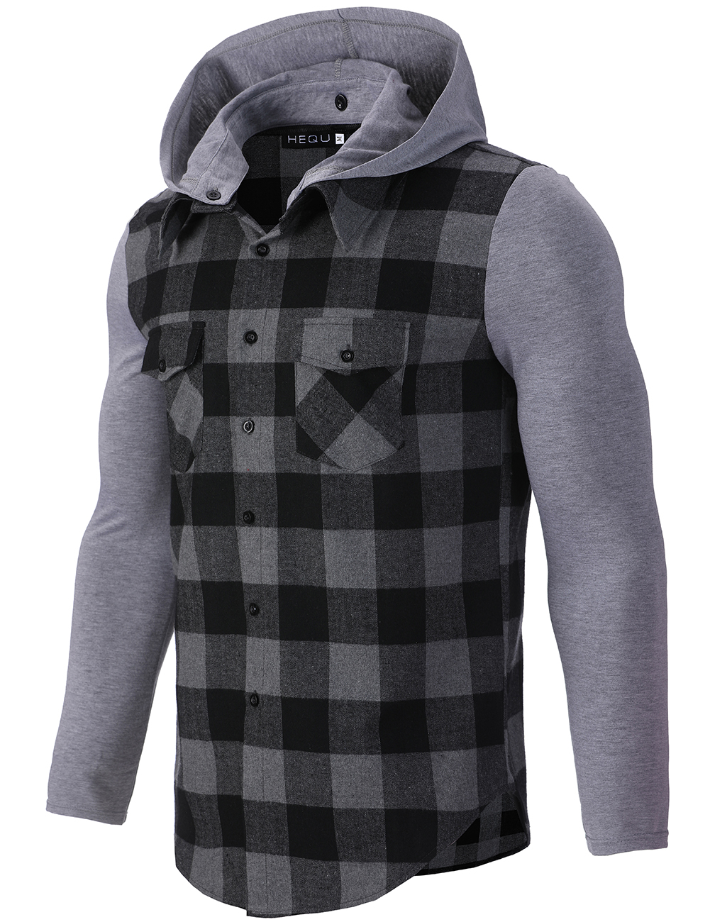 Men's flannel plaid casual hooded shirt men's casual warm and comfortable long-sleeve shirt men's wear