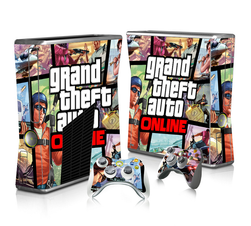 GTA-V Vinyl Decal Skin Sticker for Microsoft Xbox 360 Slim and 2 Controller Skins Sticker for Xbox 360 Slim Free Shipping