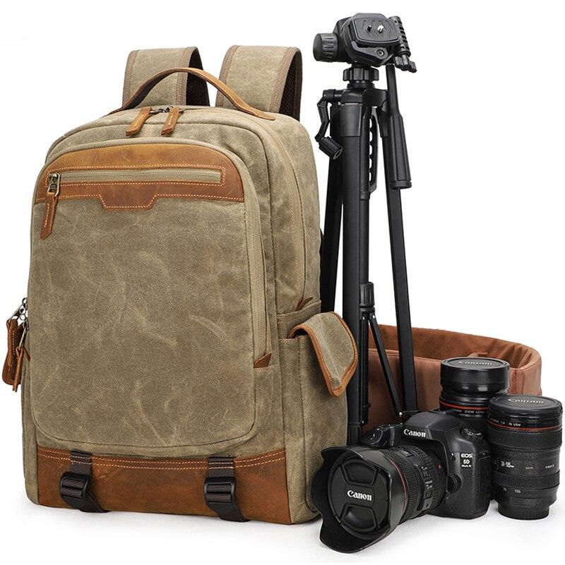 Сумка для камеры, брезентовый Рюкзак, водонепроницаемый, для фотосъемки, для улицы, износостойкий, большой, для камеры, для фото, рюкзак для объектива, для Canon/sony/Nikon