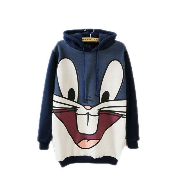 Coreia do coelho dos desenhos animados inverno longa Com Capuz de Lã camisola das mulheres Hoodies impressão Patchwork Casual wear plus size