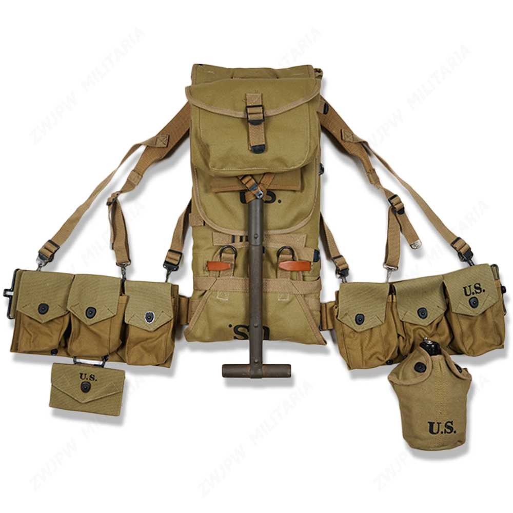 WW2 US ARMY EQUIPMENT M1928 BAG BELT FIRST AID KIT AND 0.8L KETTLE X TYPE STRAPS SIX CELL POUCH SPADE