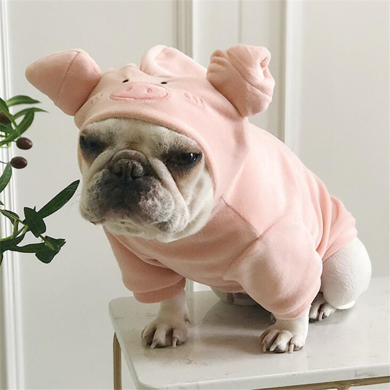 Image 5 - Dog Hoodies 2019 Pet Puppy Dog Clothes Pig Cosplay Costumes Clothing For Small Large Dog Cat French Bulldog Pug Pets Coat Pink L-in Dog Hoodies from Home & Garden