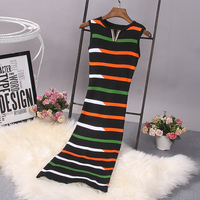[Alphalmoda] Early Autumn Women's Vintage Knitted Vestidos Crystal V Brooch Hit Color Striped Ladies Fashion Bodycon Tank Dress