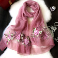 Silk embroidery scarf new ladies dimensional embroidery peony flowers sunscreen air - conditioning shawl scarf