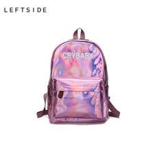 LeftSide Для женщин Путешествия Рюкзак Голограмма лазерная Рюкзаки для девочек школьная сумка из мягкой кожи чемоданчик для подростков серебристый розовый голубой черный