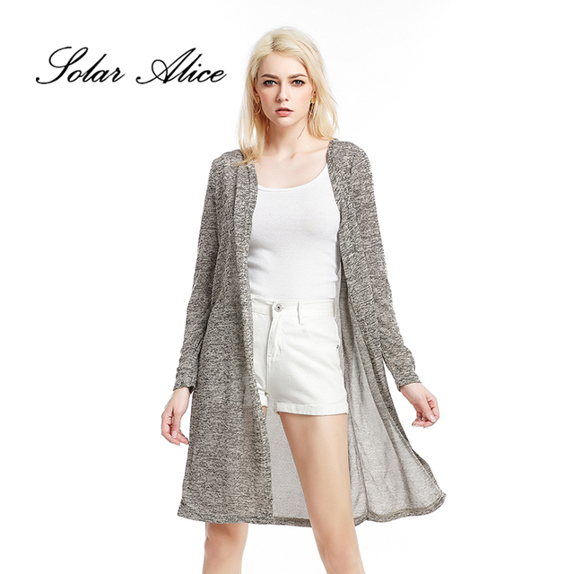 SOLAR ALICE Free Shipping Autumn Winter Solid Grey Thin Long Knitted ...