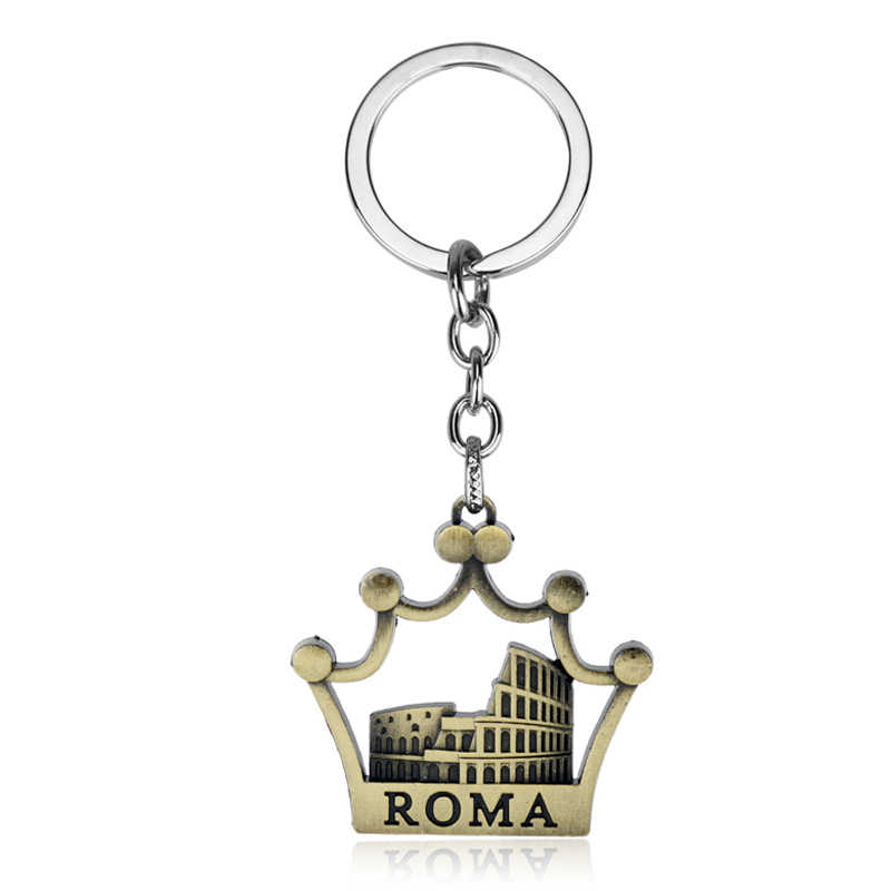 dongsheng Fashion Keychain Roman Colosseum Keychain Rome Italy Crown Pendants Men Jewelry Car Key Chain Ring Holder Souvenir-50