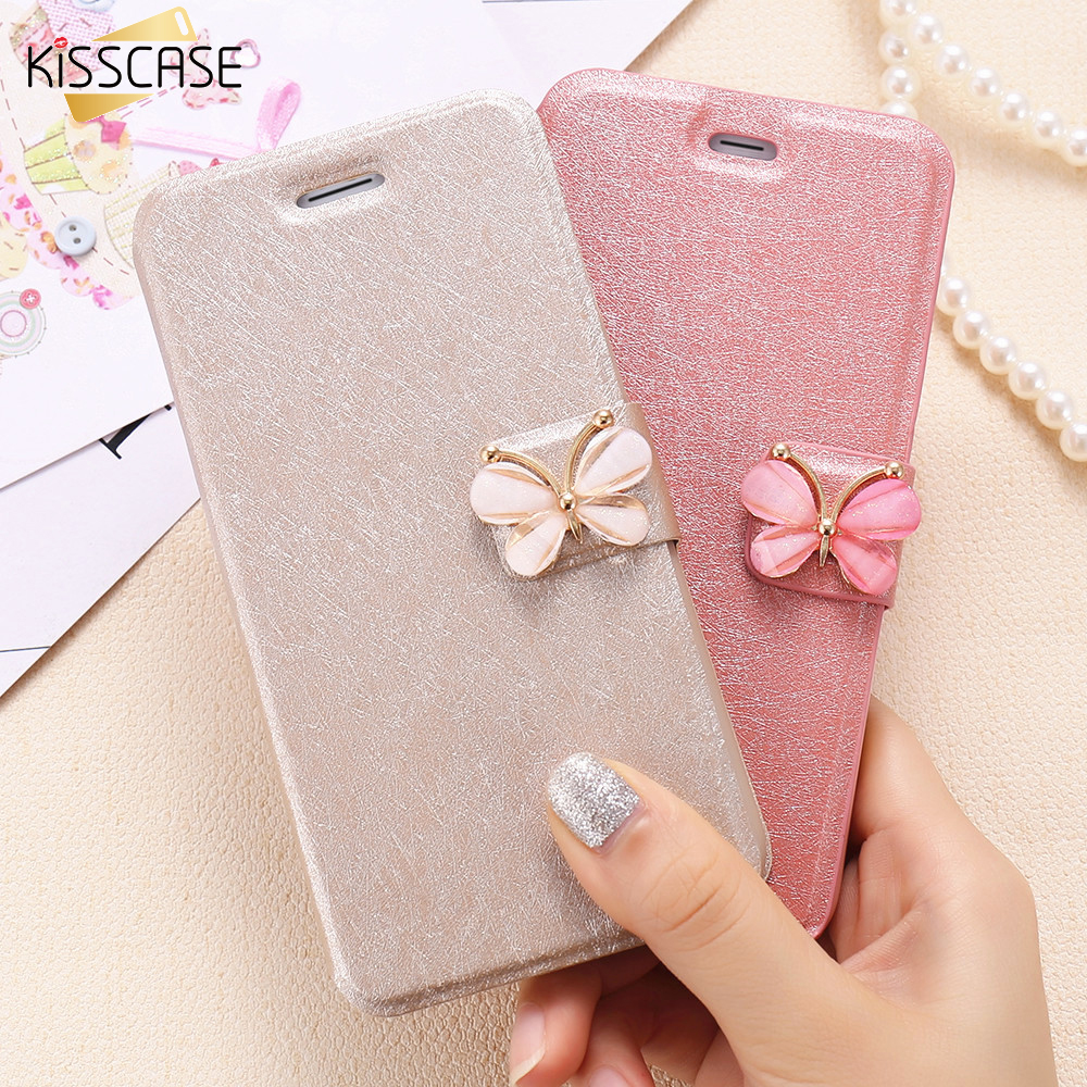 KISSCASE Elegant Silk Grain Flip Leather Case For iPhone 6 6S Plus Cute Butterfly Buckle Stand Cover For iPhone 7 7 Plus Wallet