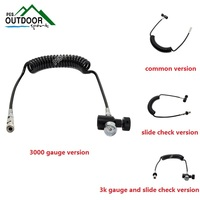 Paintball PCP Remote Hose Coil Line w/Quick Disconnect & 3000psi Mini Gauge 2.5m(extend) include ASA Adapter