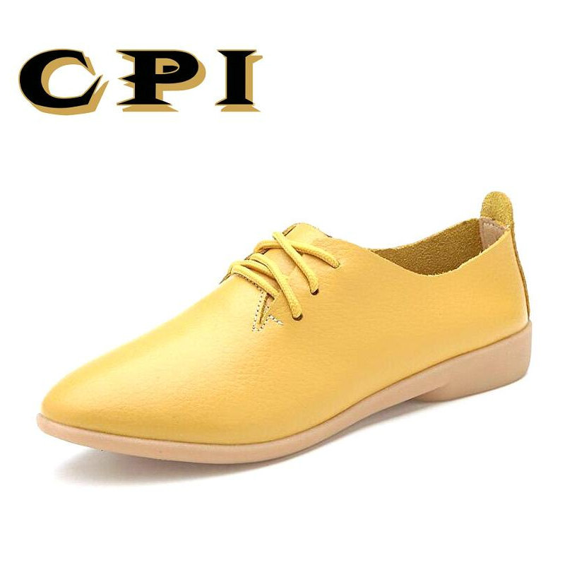 CPI Casual Ballet Shoes Women Soft Genuine Leather Women's Loafers Slip On Woman Flats Shoe  Peas Footwear  lightweight NX-027 zoqi shoes woman candy colors genuine leather women casual shoes 2018fashion breathable slip on peas massage flat shoes size 44