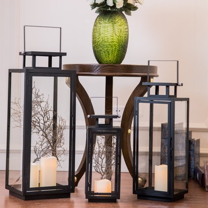 European wrought iron floor lamp light candle holder Retro wedding props romantic windproof black candle table lamp decoration - 4