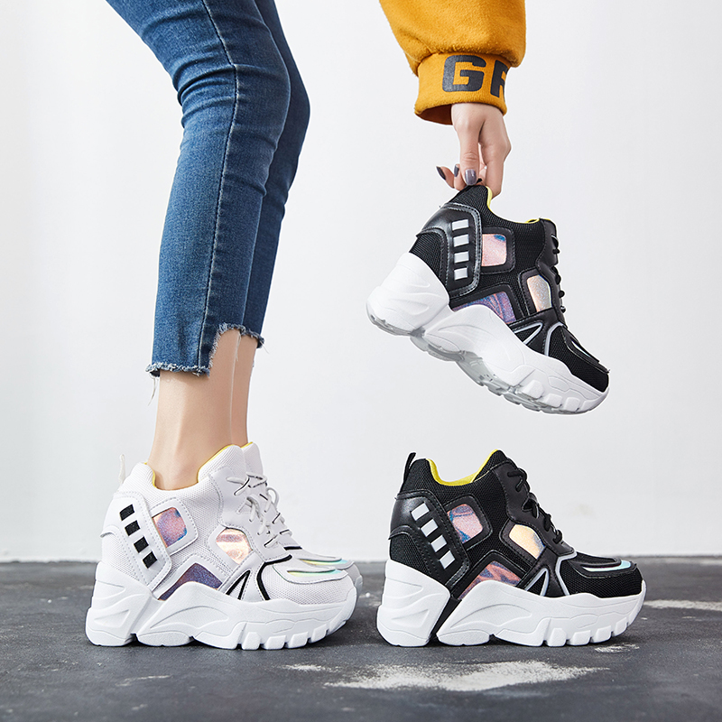 SWYIVY Dad Shoes Summer Platform Sneakers For Woman 2019 New Hot White/black Casual Shoes Lady Student Wedge Sneakers Slim Leg