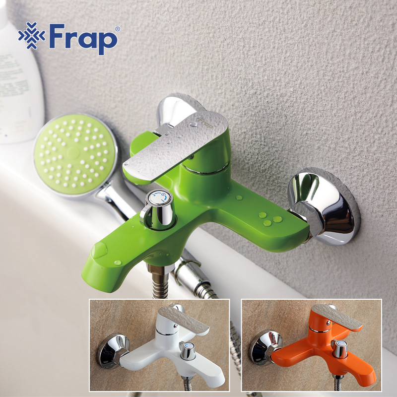 FRAP new white bathroom fixture waterfall restroom bath shower faucets system wall mounted bathtub rain shower
