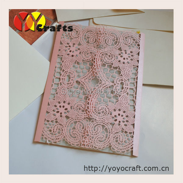 Luxury lace pink wedding invitations delicate design new natural ...