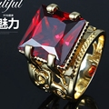 Thick Ring  Yellow Gold Filled Hyperbolic Square Cut Red Ring Band Size 9