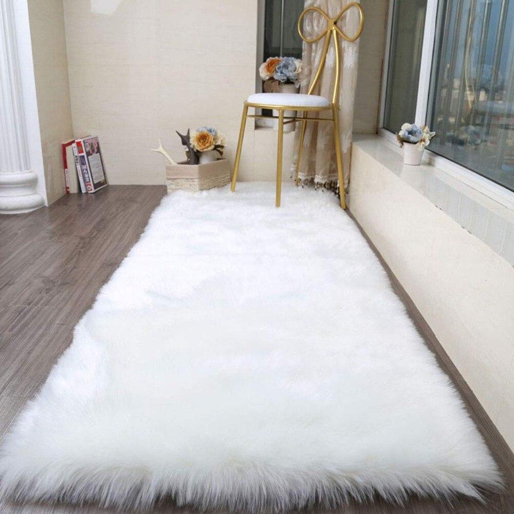 Fausse fourrure zone tapis artificiel en peau de mouton tapis moelleux chaise canapé couverture tapis pour salon chambre décor à la maison 80x180 cm