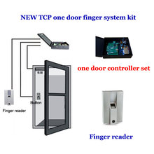 TCP/IP one door access + powercase system kit. Single Door access controller,exit button, Finger reader ,1000pcs finger