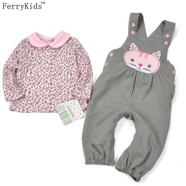 Baby Girl Одежда Устанавливает Осень-Весна Leopard Новорожденных Одежда для Новорожденных Мультфильм Нагрудник Брюки Новорожденных Девочек Одежда