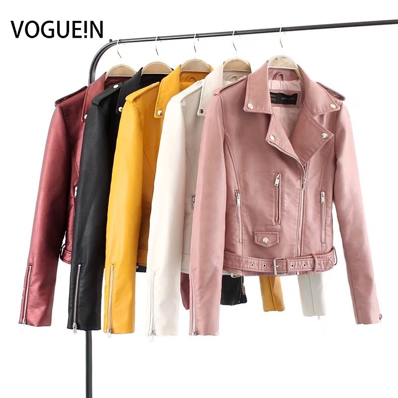 VOGUEIN New Womens Ladies Sexy 5 Colors Faux Leather Motorcycle Biker Jacket Coat Size SML Wholesale