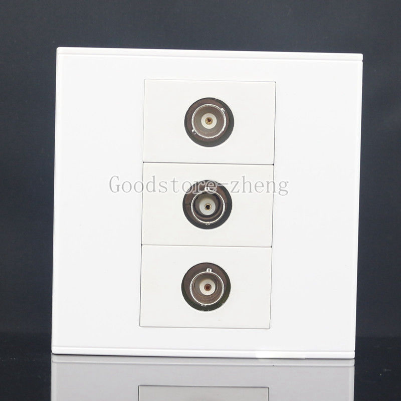 Wall Face Plate 3 Ports CCTV Camera Security BNC Female Connector Jack Faceplate