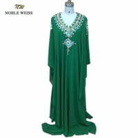 New Arrival Green Chiffon Crystal Beading V Neck 3 4 Sleeve Kaftan Arabic Dress Muslim Dubai