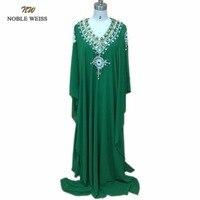 New Arrival Green Chiffon Crystal Beading V Neck 3 4 Sleeve Kaftan Arabic Dress Muslim Dubai